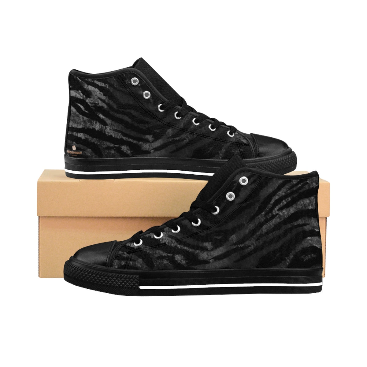 Black Tiger Striped Animal Print Women's High Top Sneakers Running Tennis Shoes-Women's High Top Sneakers-US 9-Heidi Kimura Art LLC Black Tiger Striped Women's Sneakers, Black Tiger Striped Stripe Faux Fur Animal Print Women's High Top Tennis Sneakers, Animal Print Black Sneakers, Ladies Tiger Stripe Faux Fur Shoes