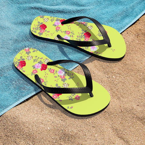 Yellow Red Floral Rose Print Unisex Flip-Flops Women's Floral Sandals- Printed in USA-Flip-Flops-Small-Heidi Kimura Art LLC