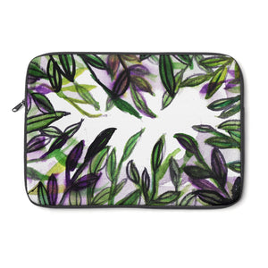 "Emerald Green Tropical Leaves Print 12', 13"", 14"" Laptop Sleeve Cover-Made in the USA-Laptop Sleeve-12""-Heidi Kimura Art LLC"
