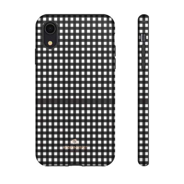 Buffalo Plaid Print Phone Case, Black White Tough Designer Phone Case -Made in USA-Phone Case-Printify-iPhone XR-Glossy-Heidi Kimura Art LLC