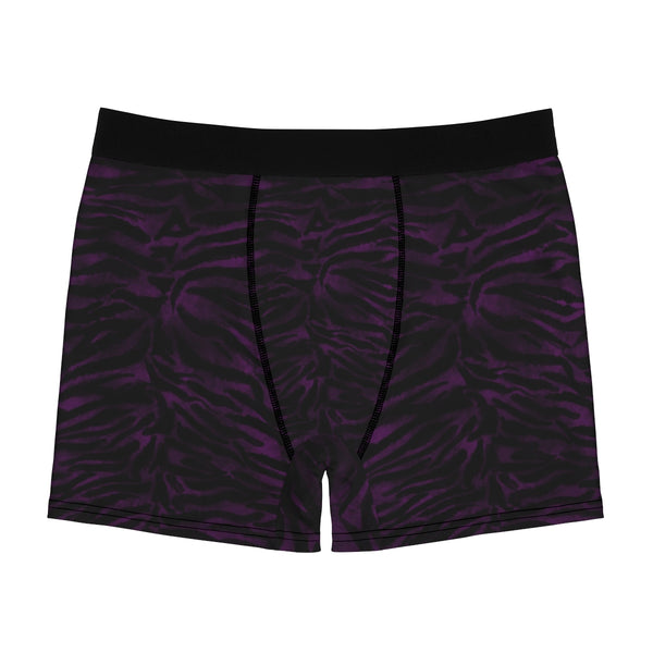 Deep Purple Black Tiger Striped Animal Print Sexy Hot Men's Boxer Briefs-Men's Underwear-L-Black Seams-Heidi Kimura Art LLC