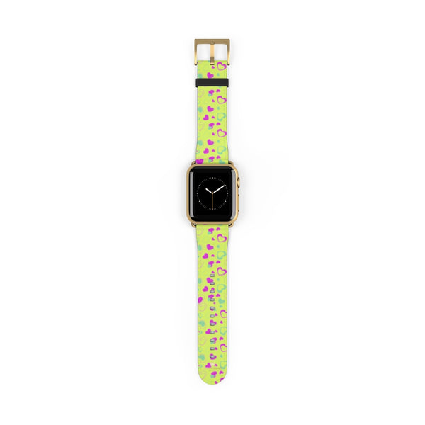 Light Green Pink Hearts Shaped Print Premium 38mm/ 42mm Watch Band- Made in USA-Watch Band-38 mm-Gold Matte-Heidi Kimura Art LLC