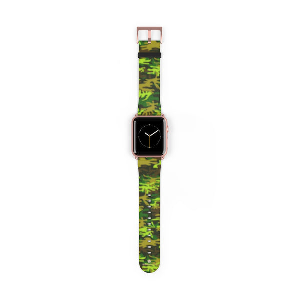 Green Brown Camo Military Print 38mm/42mm Watch Band For Apple Watch- Made in USA-Watch Band-42 mm-Rose Gold Matte-Heidi Kimura Art LLC
