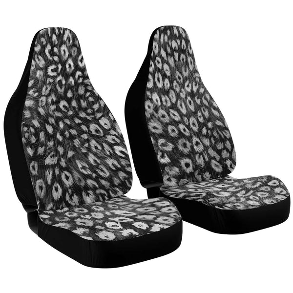 Leopard Car Seat Cover, Black White Leopard Animal Print Designer Essential Premium Quality Best Machine Washable Microfiber Luxury Car Seat Cover - 2 Pack For Your Car Seat Protection, Cart Seat Protectors, Car Seat Accessories, Pair of 2 Front Seat Covers, Custom Seat Covers
