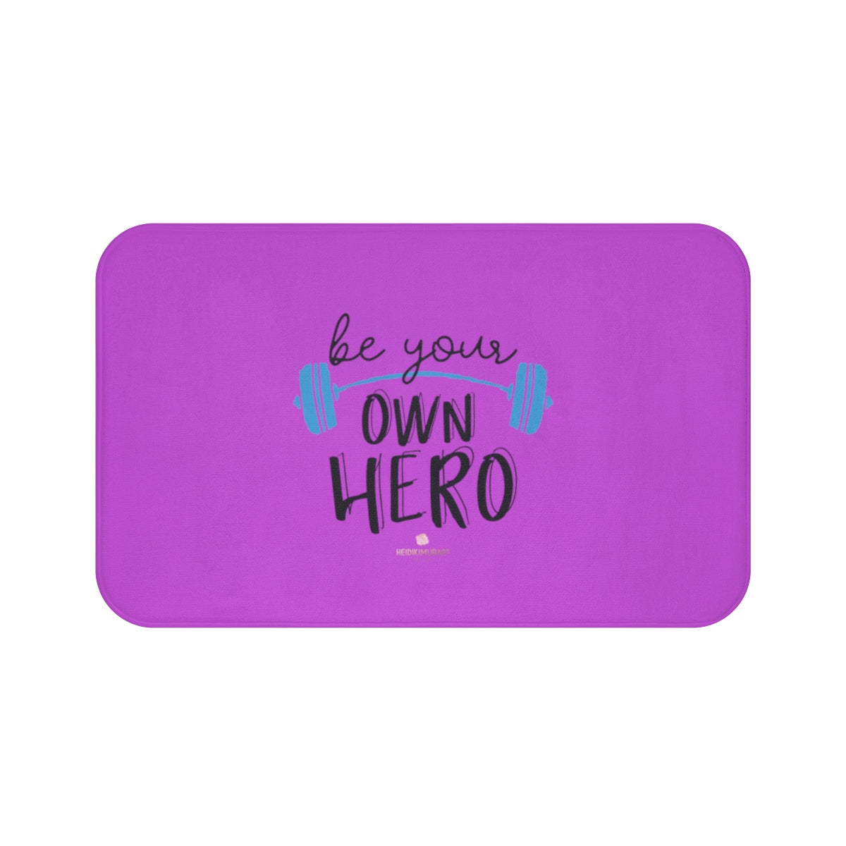 "Pink ""Be Your Own Hero"" Inspirational Quote Microfiber Bath Mat- Printed in USA-Bath Mat-Large 34x21-Heidi Kimura Art LLC"
