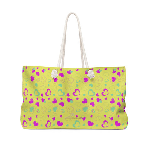 Yellow Pink Hearts Print Valentine's Day Designer Oversized Weekender Bag- Made in USA-Weekender Bag-24x13-Heidi Kimura Art LLC