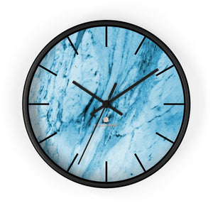 "Blue White Marble Print Art Large Indoor 10"" inch dia. Designer Wall Clock-Made in USA-Wall Clock-10 in-Black-Black-Heidi Kimura Art LLC"