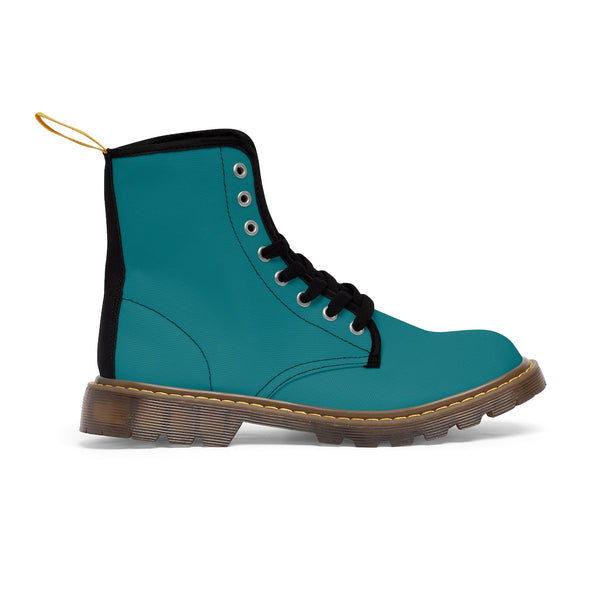 Blue Teal Classic Solid Color Designer Comfy Women's Winter Lace-up Toe Cap Boots-Women's Boots-Heidi Kimura Art LLC Blue Teal Women's Boots, Blue Teal Classic Solid Color Comfortable Designer Women's Winter Lace-up Toe Cap Combat Winter Blue Ankle Boots, Best Blue Boots For Women, Hiking Boots, Hiker's Boots (US Size 6.5-11)