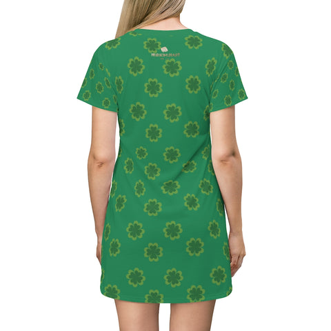 Dark Green Clover Print St. Patrick's Day Women's Premium T-Shirt Dress- Made in USA-T-Shirt Dress-L-Heidi Kimura Art LLC
