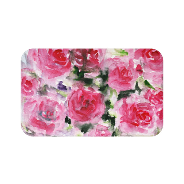 Rina Garden Pink Floral Rose Flower Print Bath Mat - Designed and Made in USA pink rose floral print sexy bath mat bath mats home decor fashionable cute girlie