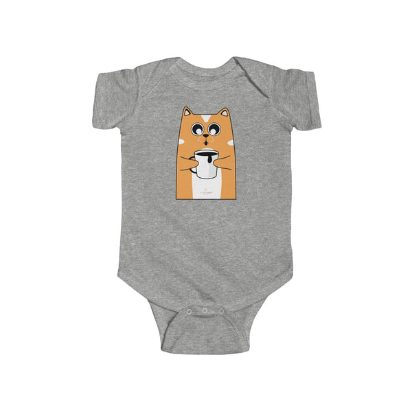 Orange Cat Loves Coffee Infant Fine Jersey Regular Fit Unisex Bodysuit - Made in UK-Infant Short Sleeve Bodysuit-Heather-NB-Heidi Kimura Art LLC