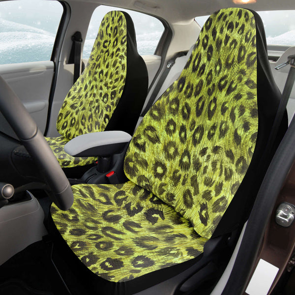 Leopard Car Seat Cover, Yellow Leopard Animal Print Designer Essential Premium Quality Best Machine Washable Microfiber Luxury Car Seat Cover - 2 Pack For Your Car Seat Protection, Cart Seat Protectors, Car Seat Accessories, Pair of 2 Front Seat Covers, Custom Seat Covers