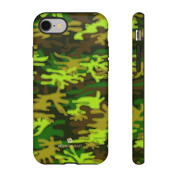 Green Camouflage Phone Case, Army Military Print Tough Designer Phone Case -Made in USA-Phone Case-Printify-iPhone 8-Matte-Heidi Kimura Art LLC