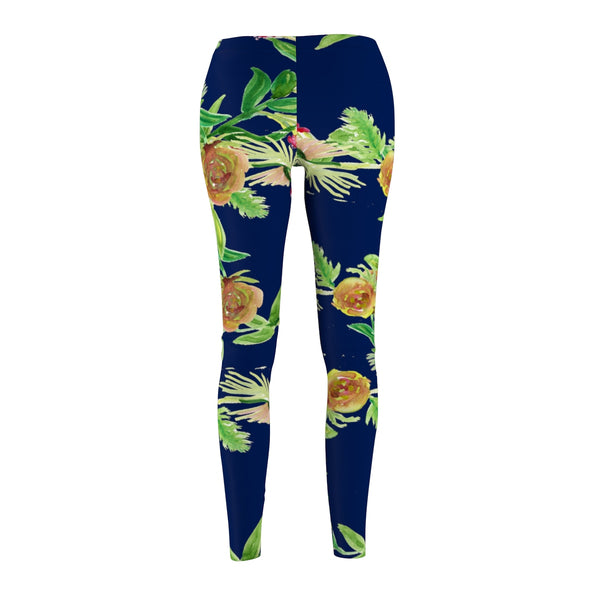 Navy Blue Rose Floral Print Women's Tights / Casual Leggings - Made in USA-Casual Leggings-Heidi Kimura Art LLC
