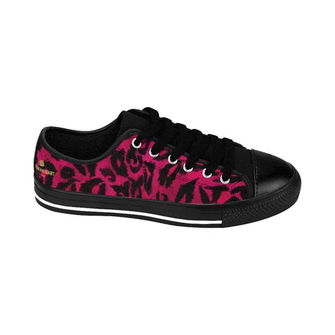 Hot Pink Leopard Animal Print Premium Men's Low Top Canvas Sneakers Running Shoes-Men's Low Top Sneakers-Heidi Kimura Art LLC Hot Pink Leopard Men's Sneakers, Hot Pink Leopard Animal Print Designer Men's Running Low Top Sneakers Shoes, Men's Designer Leopard Print Tennis Shoes (US Size 7-14)