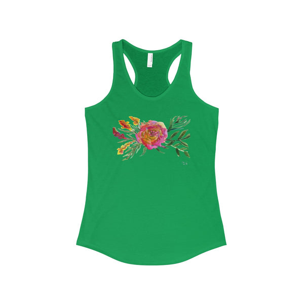 Rose Floral Designer Best Women's Ideal Racerback Tank - Made in the USA-Tank Top-Solid Kelly Green-XS-Heidi Kimura Art LLC
