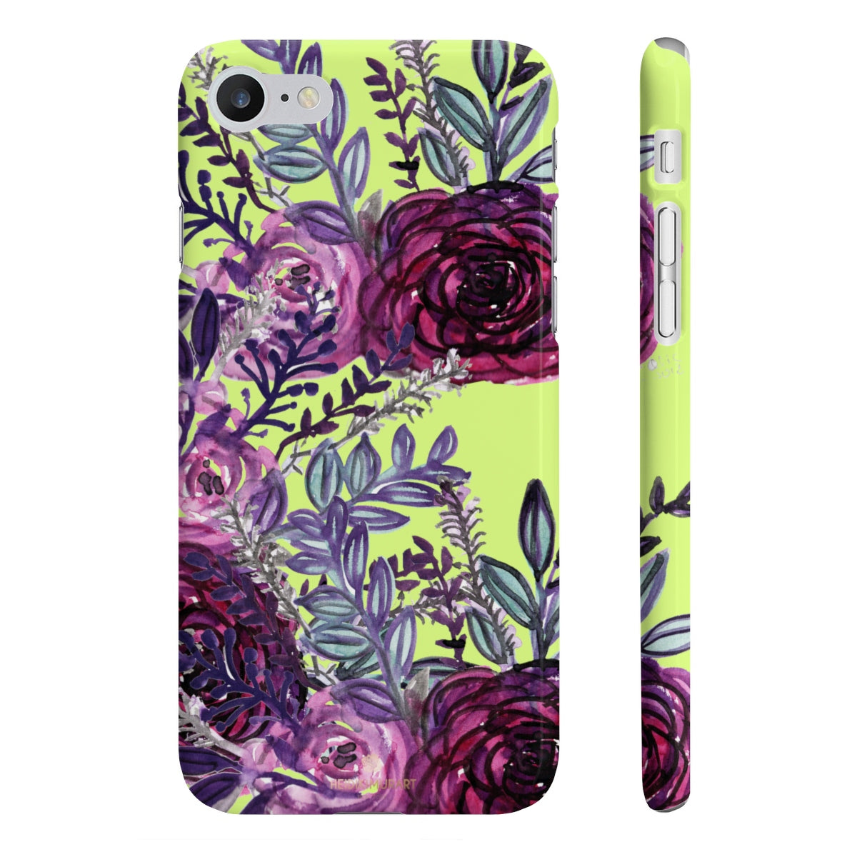 Yellow Slim iPhone/ Samsung Galaxy Floral Purple Rose iPhone or Samsung Case, Made in UK-Phone Case-iPhone 7, iPhone 8 Slim-Glossy-Heidi Kimura Art LLC