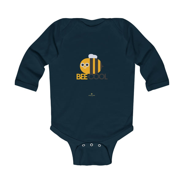 Bee Infant Long Sleeve Bodysuit, Be Cool Cute Baby Boy or Girls Kids Clothes- Made in USA-Infant Long Sleeve Bodysuit-Navy-NB-Heidi Kimura Art LLC
