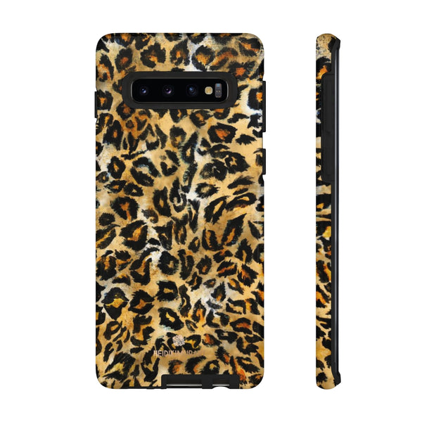Brown Leopard Tough Cases, Animal Print Best Designer Phone Case-Made in USA-Phone Case-Printify-Samsung Galaxy S10-Glossy-Heidi Kimura Art LLC