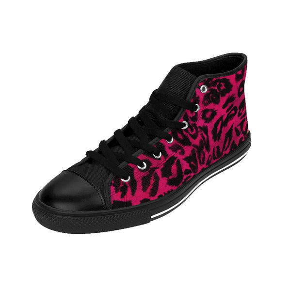 Hot Pink Leopard Men's Sneakers, Hot Pink Snow Leopard Animal Print Pattern Designer Men's Shoes, Men's High Top Sneakers US Size 6-14, Tribal Leopard Print Shoes, Unique Sneakers, Leopard Print Tennis Shoes (US Size: 6-14) Hot Pink Leopard Animal Print Premium Men's High-top Fashion Sneakers Tennis Shoes-Men's High Top Sneakers-Heidi Kimura Art LLC