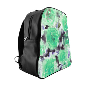 Dreamy Blue Rose Floral Print School Designer Backpack School Bag (Size: S, M, L)-Backpack-Large-Heidi Kimura Art LLC