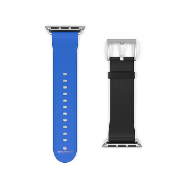 Blue Black Duo Solid Color Print 38mm/42mm Watch Band For Apple Watch- Made in USA-Watch Band-38 mm-Silver Matte-Heidi Kimura Art LLC