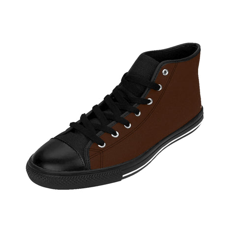 Cinnamon Brown Sugar Solid Color Women's High Top Sneakers Running Shoes-Women's High Top Sneakers-Heidi Kimura Art LLC Cinnamon Brown Women's Sneakers, Cinnamon Brown Sugar Solid Color Women's High Top Sneakers Running Shoes (US Size 6-12)