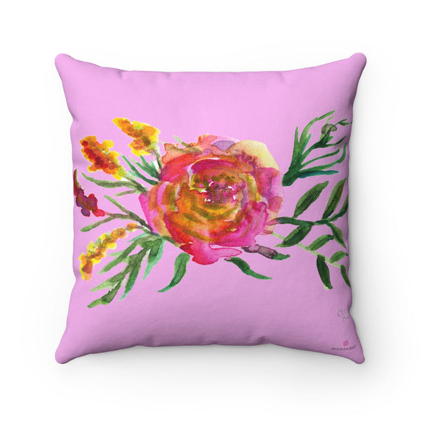 "Cute Pink Rose Floral Flower Watercolor Print Square Pillow 14""/16""/18""/20""-Pillow-14x14-Heidi Kimura Art LLC"