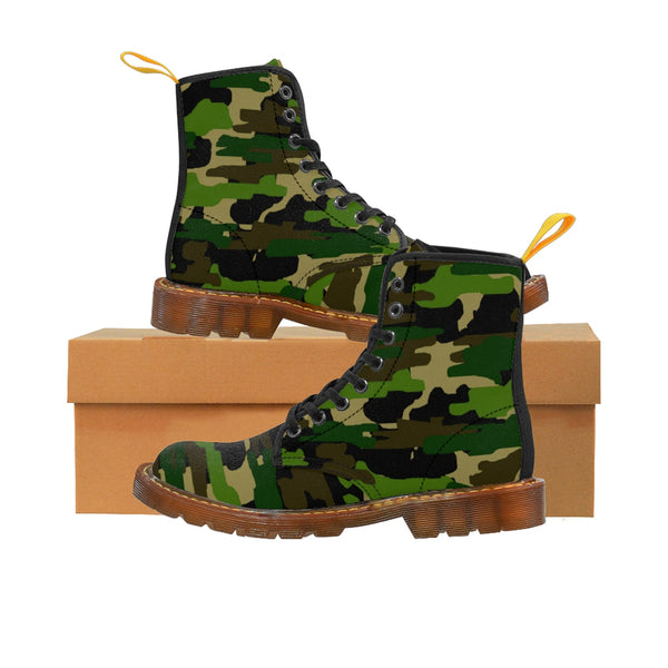 Green Army Military Camouflage Print Men's Lace-Up Winter Boots Cap Toe Shoes (US Size 7-10.5)-Men's Winter Boots-Brown-US 10-Heidi Kimura Art LLC