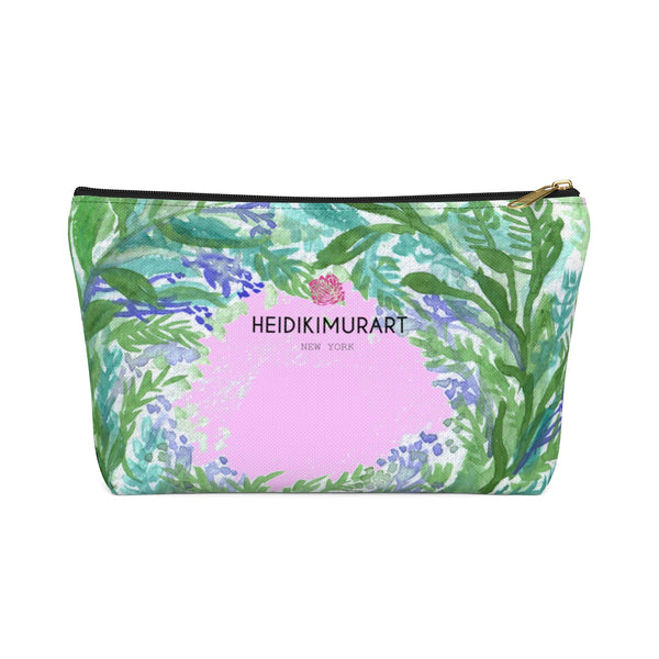 Pink French Lavender Floral Print Accessory Pouch with T-bottom-Accessory Pouch-Black-Large-Heidi Kimura Art LLC