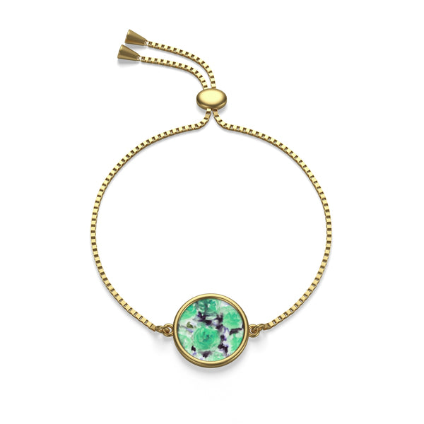 Miné Protector Light Blue Rose Print Box Chain Sterling Silver 18K Gold Plated Bracelet, Made in USA