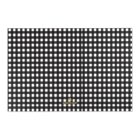 "White Black Buffalo Plaid Tartan Print 24x36/ 36x60/ 48x72 inches Area Rug-Area Rug-72"" x 48""-Heidi Kimura Art LLC Black Buffalo Area Rug, White Black Plaid Buffalo Tartan Print Designer 24x36, 36x60, 48x72 inches Machine Washable Area Rugs, Large Carpet-Printed in the USA"