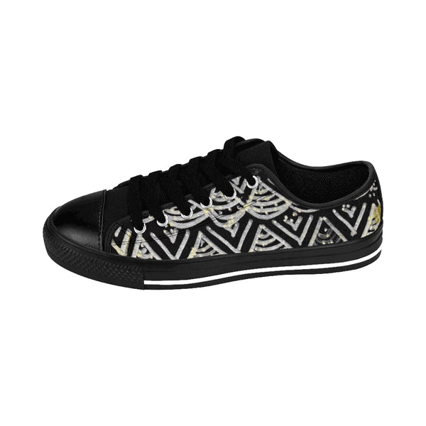 Black Chevron Pattern Mermaid King Men's Low Top Nylon Canvas Tennis Sneakers Shoes-Men's Low Top Sneakers-Heidi Kimura Art LLC