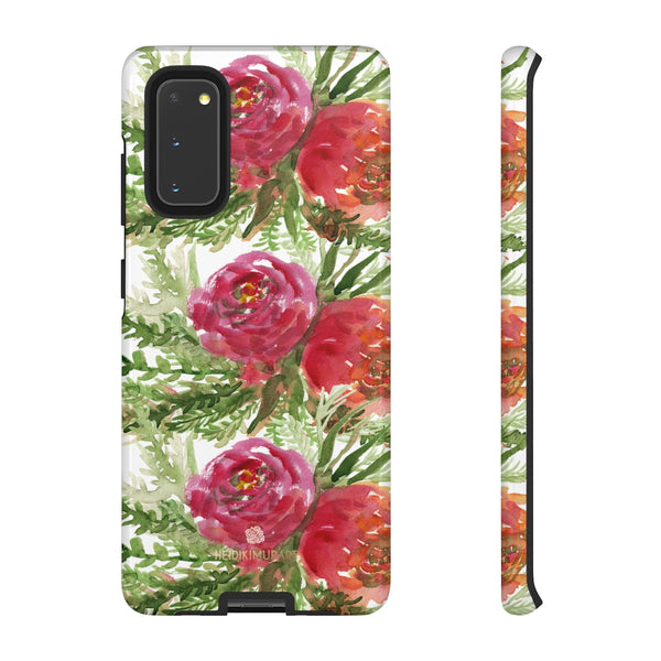 Red Orange Floral Phone Case, Flower Print Tough Designer Phone Case -Made in USA-Phone Case-Printify-Samsung Galaxy S20-Glossy-Heidi Kimura Art LLC