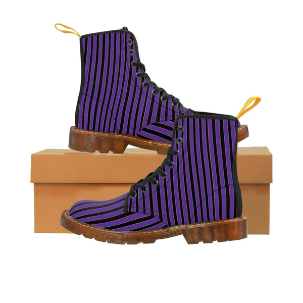 Purple Striped Print Men's Boots, Black Stripes Best Hiking Winter Boots Laced Up Shoes For Men-Shoes-Printify-Brown-US 8-Heidi Kimura Art LLC