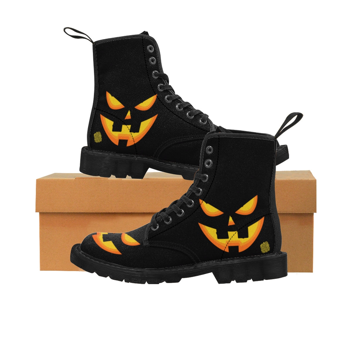 Halloween Pumpkin Face Men's Lace-Up Winter Boots Men's Shoes (US Size: 7-10.5)-Men's Winter Boots-Black-US 9-Heidi Kimura Art LLC