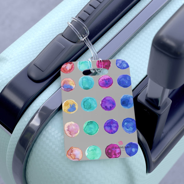 Take Cool Watercolor Polka Dots Designer Travel Luggage Suitcase Bag Tag - Made in USA-Bag Tags-One Size-Heidi Kimura Art LLC