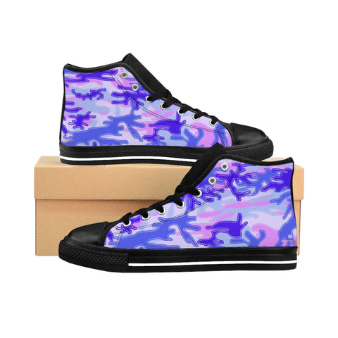 Purple Camo Women's Sneakers, Army Print Designer High-top Sneakers Tennis Shoes-Shoes-Printify-Black-US 9-Heidi Kimura Art LLC