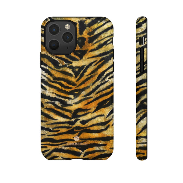 Tiger Stripe Print Phone Case, Animal Print Tough Designer Phone Case -Made in USA-Phone Case-Printify-iPhone 11 Pro-Glossy-Heidi Kimura Art LLC