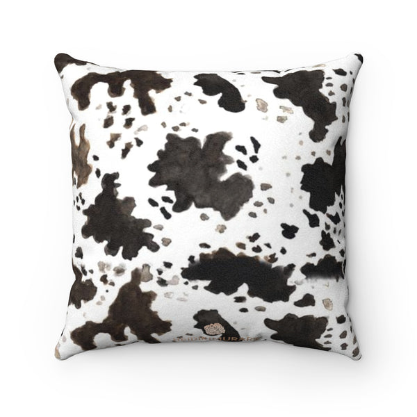 Cow Print Brown White Black 100% Double Sided Faux Suede Square Pillow Case-Pillow Case-14x14-Heidi Kimura Art LLC
