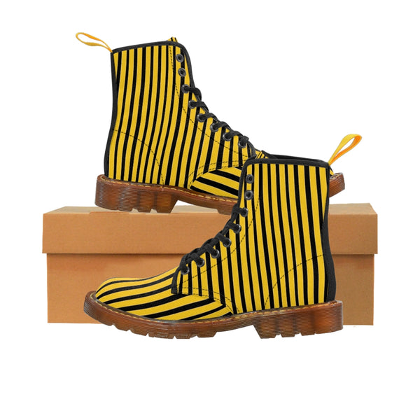 Yellow Striped Print Men's Boots, Black Stripes Best Hiking Winter Boots Laced Up Shoes For Men-Shoes-Printify-Brown-US 8-Heidi Kimura Art LLC