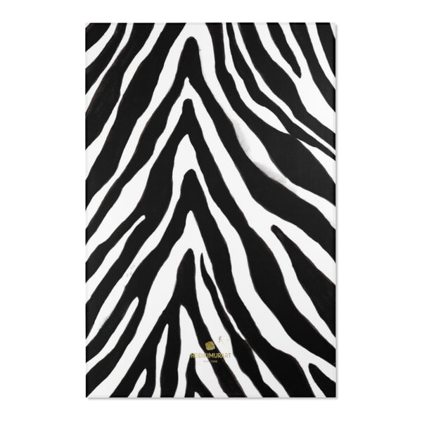 "Deluxe White Black Zebra Animal Print Designer 24x36, 36x60, 48x72 inches Area Rugs-Area Rug-48"" x 72""-Heidi Kimura Art LLC"