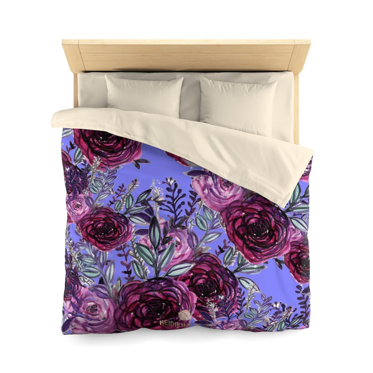 Purple Rose Floral Print Premium Microfiber Duvet Cover for Twin/Queen Bed-Duvet Cover-Queen-Cream-Heidi Kimura Art LLC