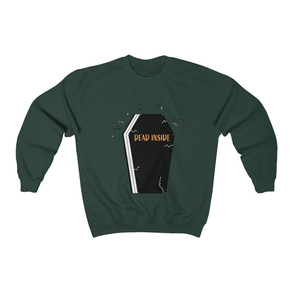 Dead Inside Coffin Halloween Party Unisex Premium Crewneck Sweatshirt-Made in USA-Long-sleeve-Forest Green-S-Heidi Kimura Art LLC