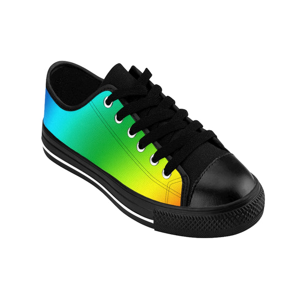 Rainbow Gay Pride Men's Sneakers, Colorful Low Top Shoes For Men-Shoes-Printify-Heidi Kimura Art LLC Rainbow Gay Pride Men's Sneakers, Colorful Gay Pride Men's Low Tops, Premium Men's Nylon Canvas Tennis Fashion Sneakers Shoes (US Size: 7-14)