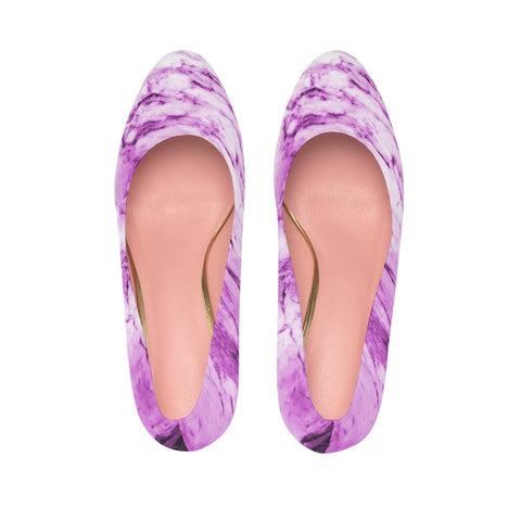 Pink Purple Marble Print Women's Platform Heels Stiletto Pumps Shoes (US Size: 5-11)-4 inch Heels-Heidi Kimura Art LLC