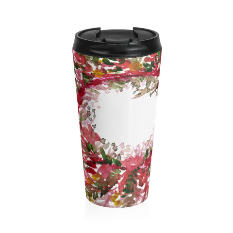Red Autumn Floral Print Stainless Steel 15 oz (0.44 l) Travel Mug, Made in USA-Mug-Travel Mug-Heidi Kimura Art LLC