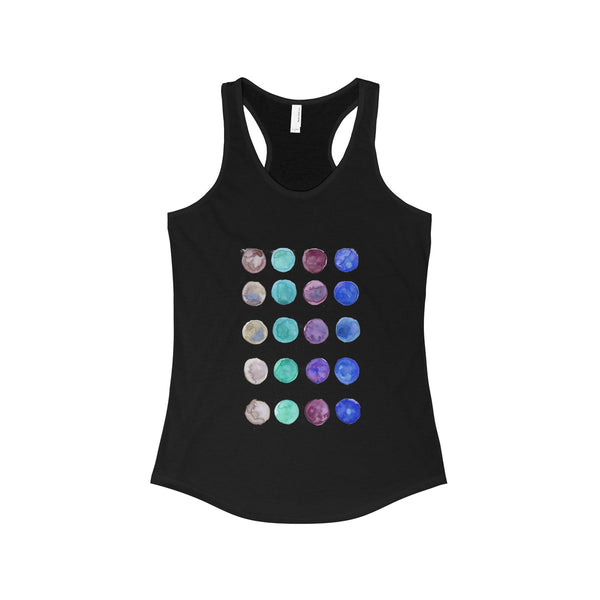 Polka Dots Colorful Designer Women's Ideal Racerback Tank -Made in the U.S.A.-Tank Top-Solid Black-L-Heidi Kimura Art LLC