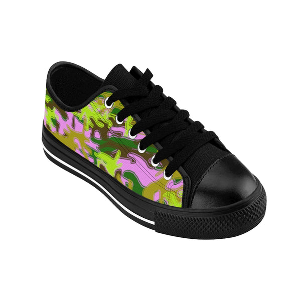 Pink Green Camouflage Military Print Premium Men's Low Top Canvas Sneakers Shoes-Men's Low Top Sneakers-Heidi Kimura Art LLC