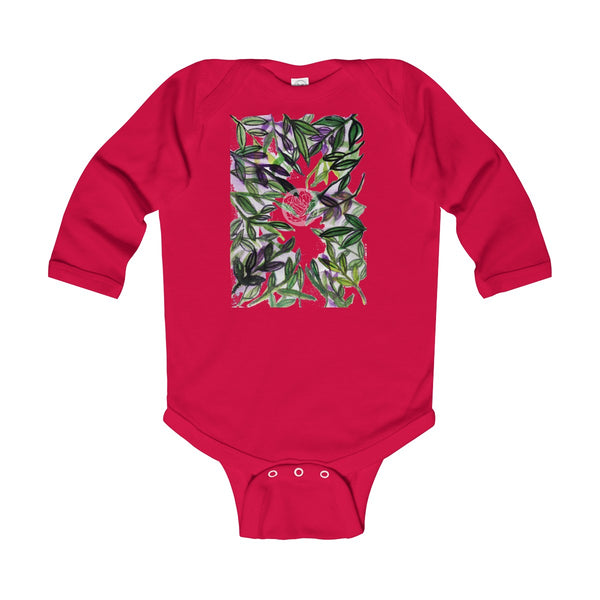 Green Tropical Leaves Baby Infant Long Sleeve Bodysuit - Made in UK (UK Size: 6M-24M)-Kids clothes-Red-12M-Heidi Kimura Art LLC